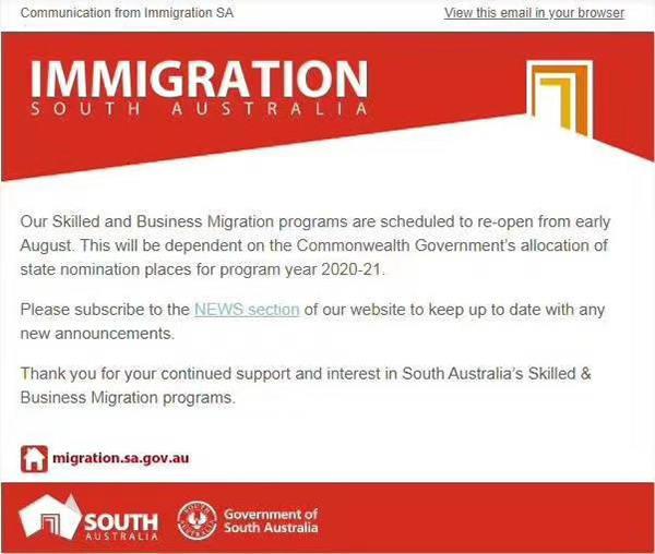 8月初澳洲接收澳洲商业移民申请