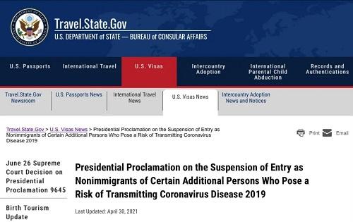 美国国务院发布移民签证处理顺序以及入境限制公告